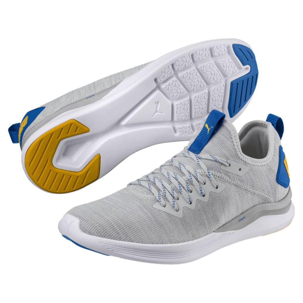 Puma IGNITE Flash evoKNIT grau blau Glacier Gray White Strong Blue Yellow Herren