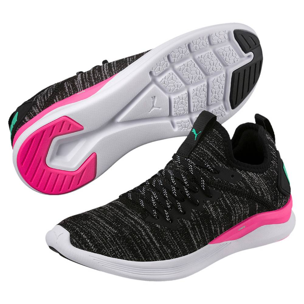 Puma IGNITE Flash evoKNIT schwarz pink Black Knockout Pink Biscay Green Damen