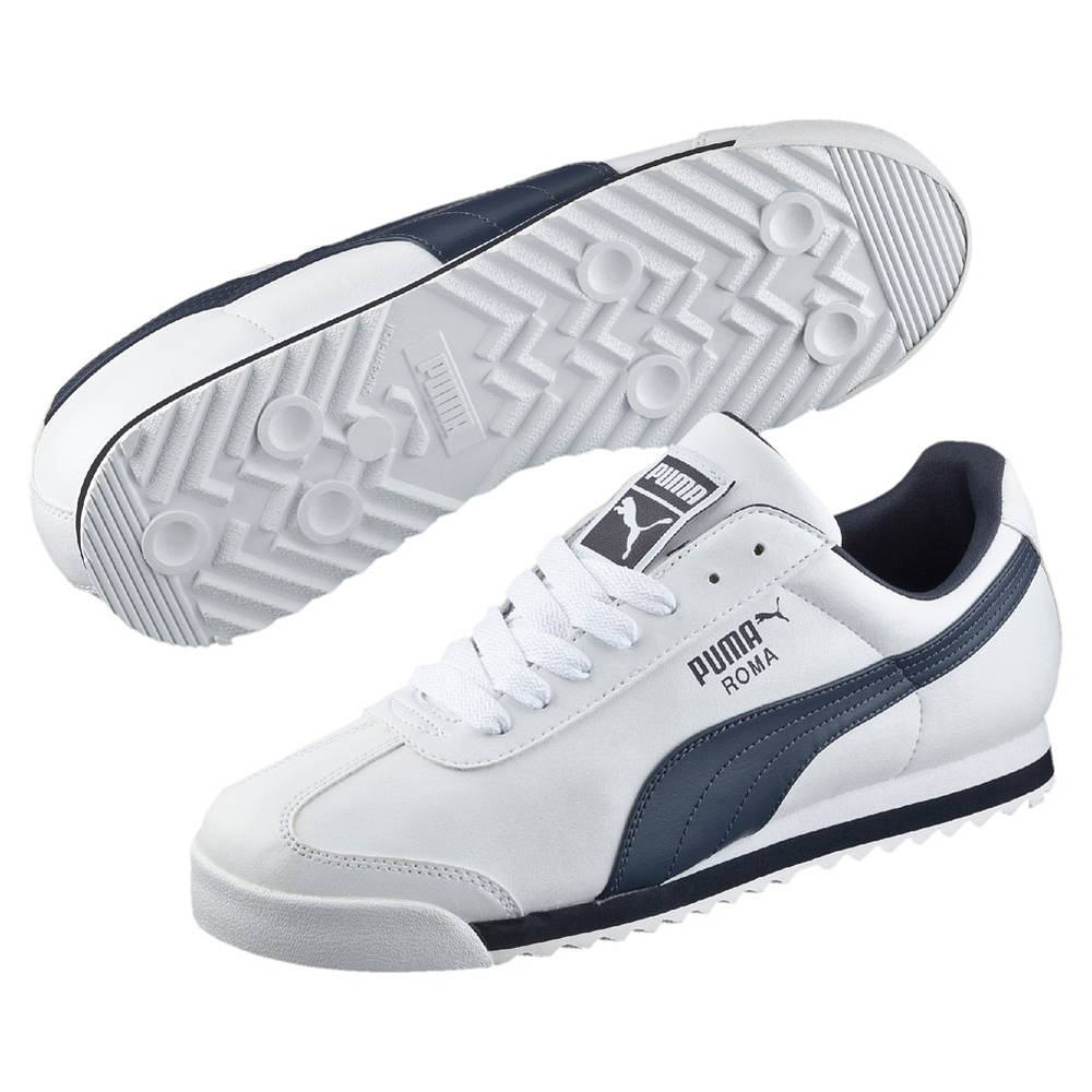 Puma Roma Basic weiß navyblau white new navy Schuhe Low-Cut Sneaker Herren