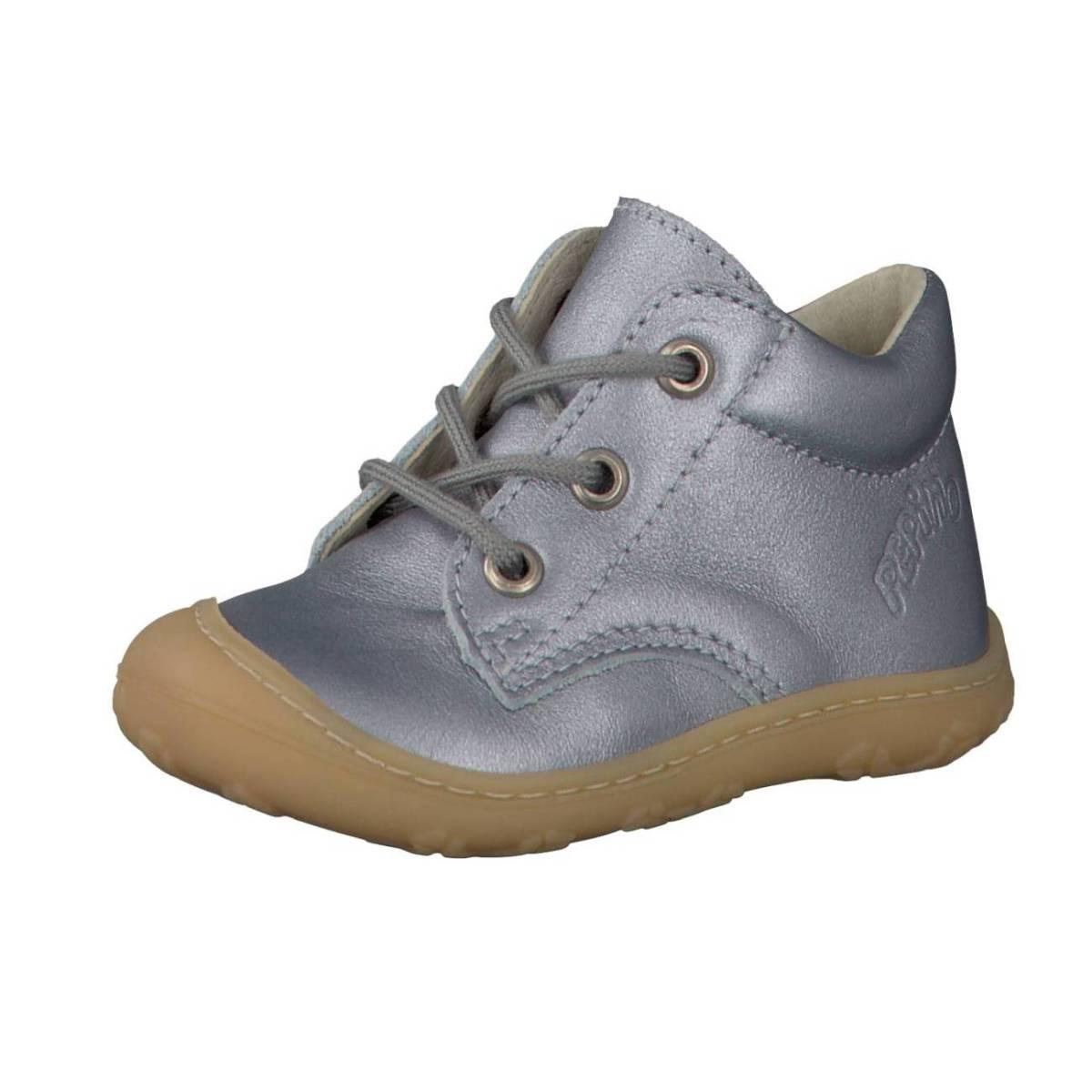 Ricosta Pepino Corbi silber glänzend metallic Lauflernschuhe Stiefelchen Kinder