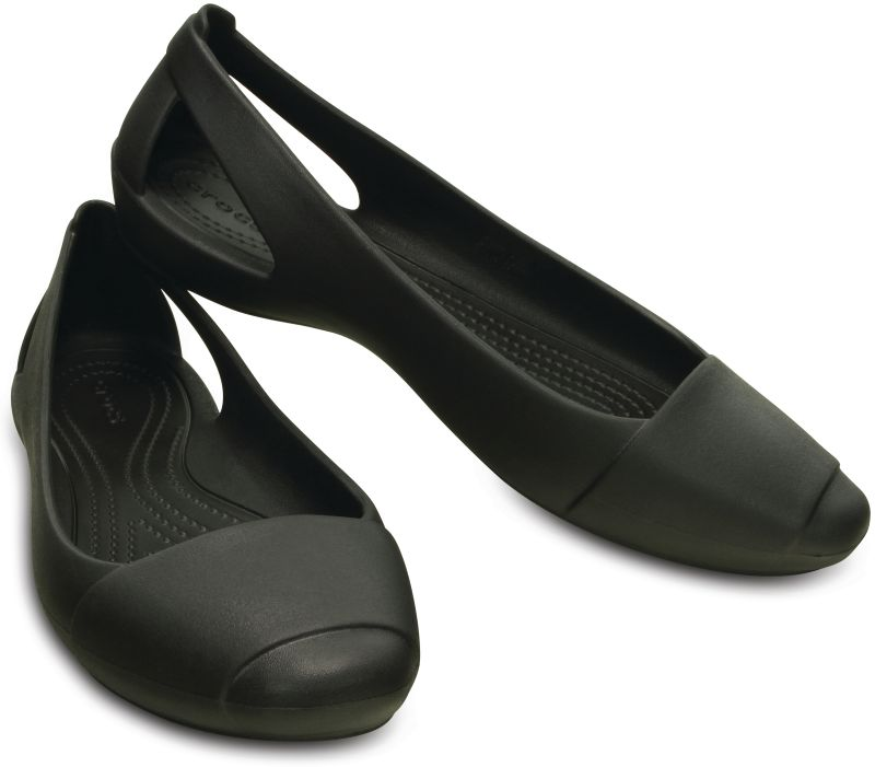 Crocs Sienna Flat Women Schwarz Damen Sandale Ballerinas Schuhe SIF1