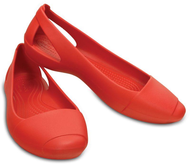 Crocs Sienna Flat Women Hellrot Damen Sandale Ballerinas Schuhe SIF3