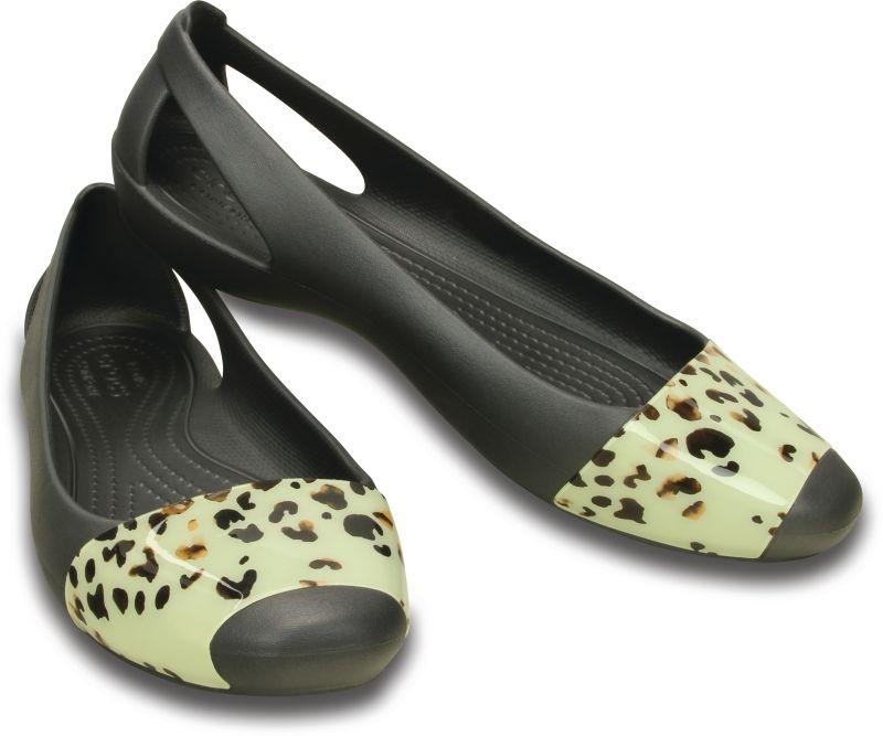 Crocs Sienna Leopard Fade Flat Grau Damen Sandale Ballerinas Schuhe SIF5