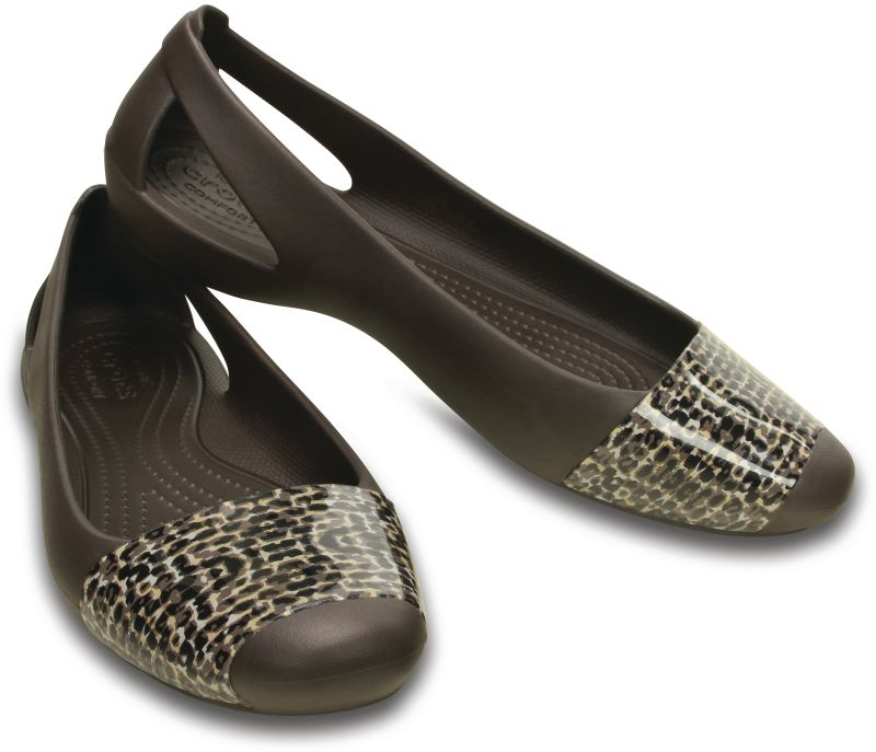 Crocs Sienna Leopard Shiny Flat Braun Damen Sandale Ballerinas Schuhe SIF7
