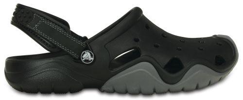 Crocs Swiftwater Clog Schwarz Grau Retro-Schuhe Badeschuhe Fersenriemen SWC1