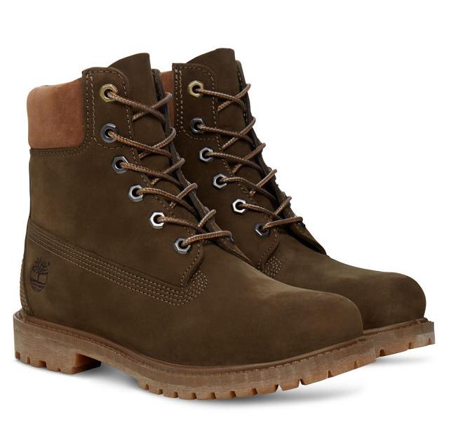 Timberland 6-Inch Premium Boot Women Stiefel Dunkelgrün Olive Schuhe TA18N8