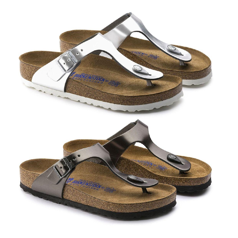 Birkenstock Gizeh Zehentrenner Sandalen Leder Damen Schuhe FS19