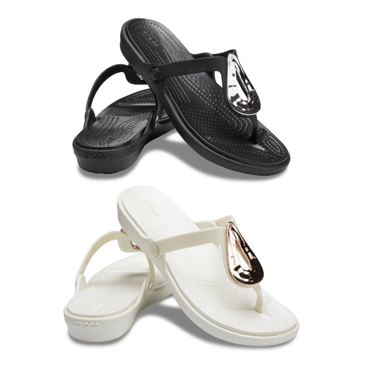 Crocs Sanrah Liquid Metallic Flip W Sandalen Ballerinas Synthetik Damen FS19
