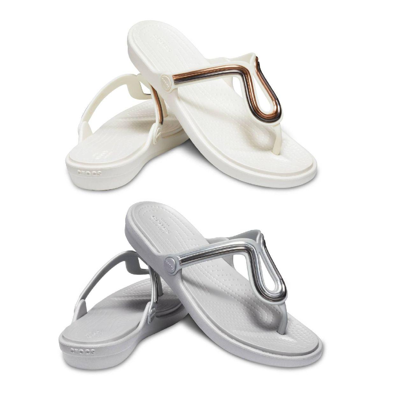 Crocs Sanrah MetalBlock Flat Flip W Sandalen Ballerinas Synthetik Damen FS19