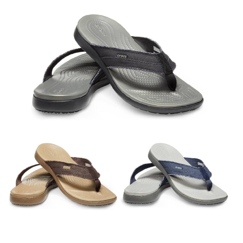 Crocs Santa Cruz Canvas Flip M Zehentrenner Hausschuhe Textil Unisex Schuhe HW19