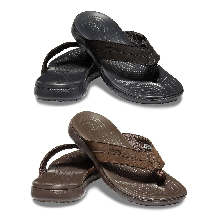 Crocs Santa Cruz Leather Flip M Zehentrenner Leder Textil Unisex Schuhe HW19
