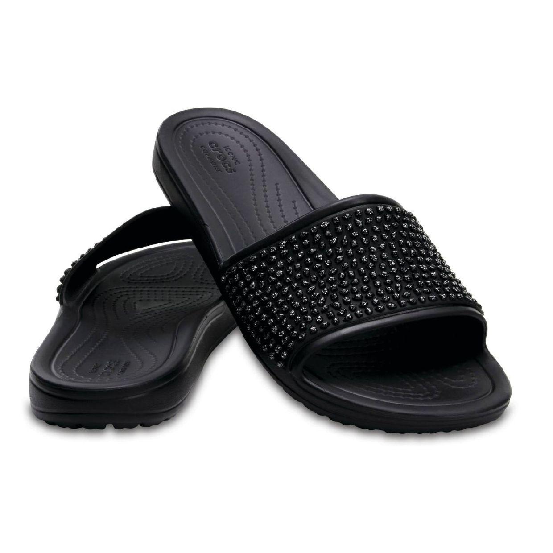 Crocs Sloane Embellished Slide Sandalen Ballerinas Synthetik Damen Schuhe FS19