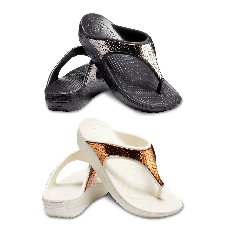Crocs Sloane MetalText Flip W Sandalen Ballerinas Synthetik Damen Schuhe FS19