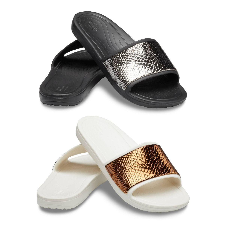 Crocs Sloane MetalText Slide W Sandalen Ballerinas Synthetik Damen Schuhe FS19