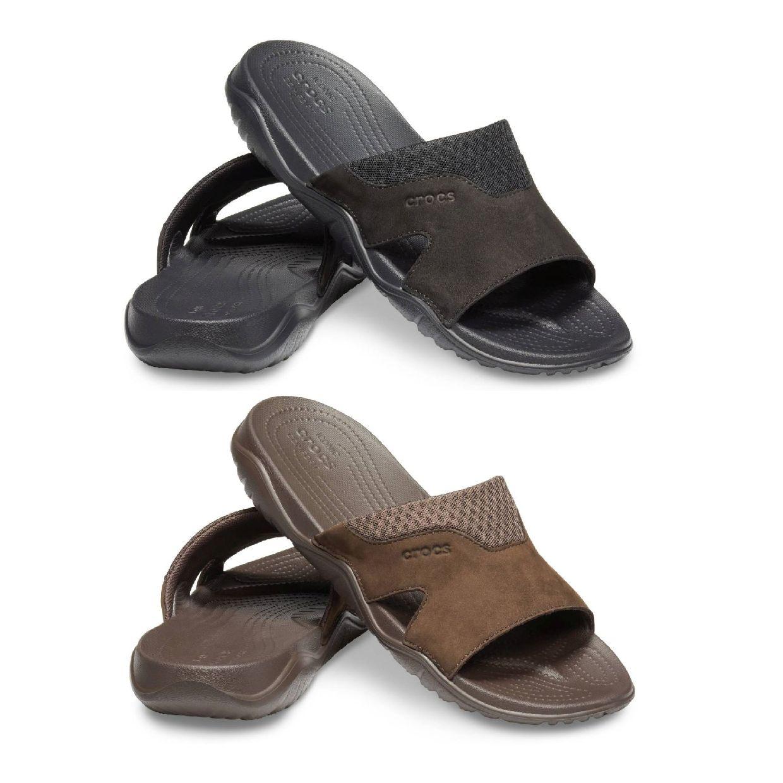Crocs Swiftwater Leather Slide M Clogs Hausschuhe Synthetik Unisex Schuhe CO