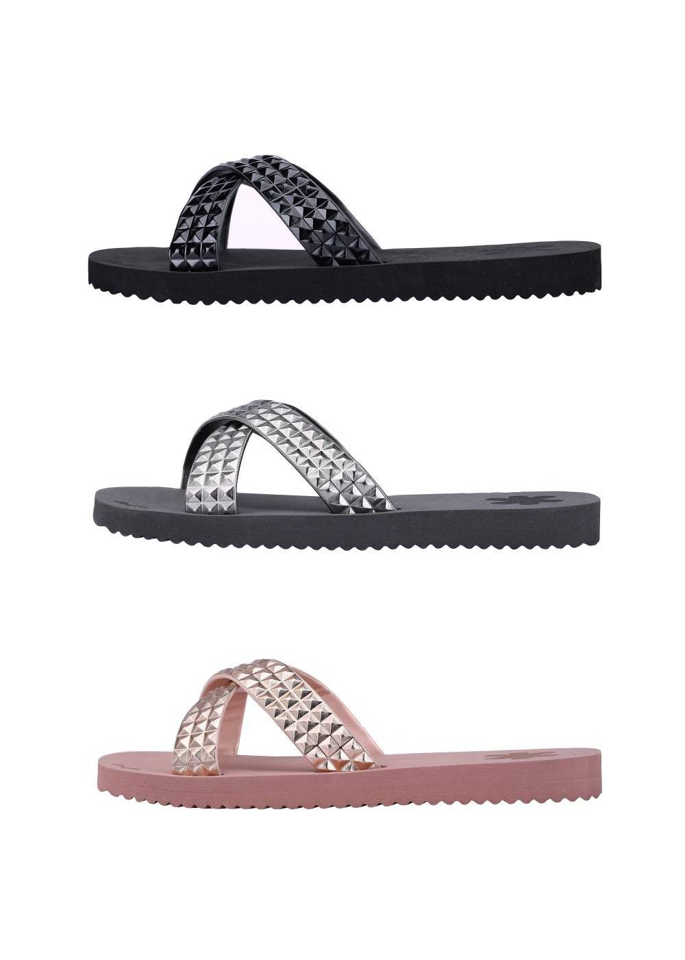 FLIP*FLOP Cross Tile Sandalen Freizeitschuhe Gummi Strasssteine Schuhe