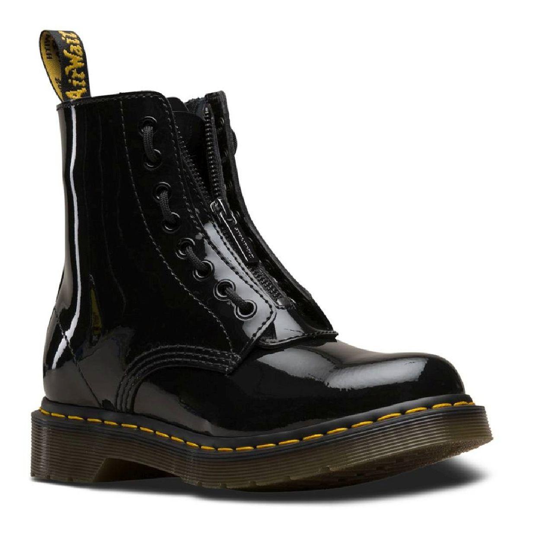Dr. Martens 1460 8-Eye Boot Front Zip Stiefel Lackleder Damen Schuhe FS19