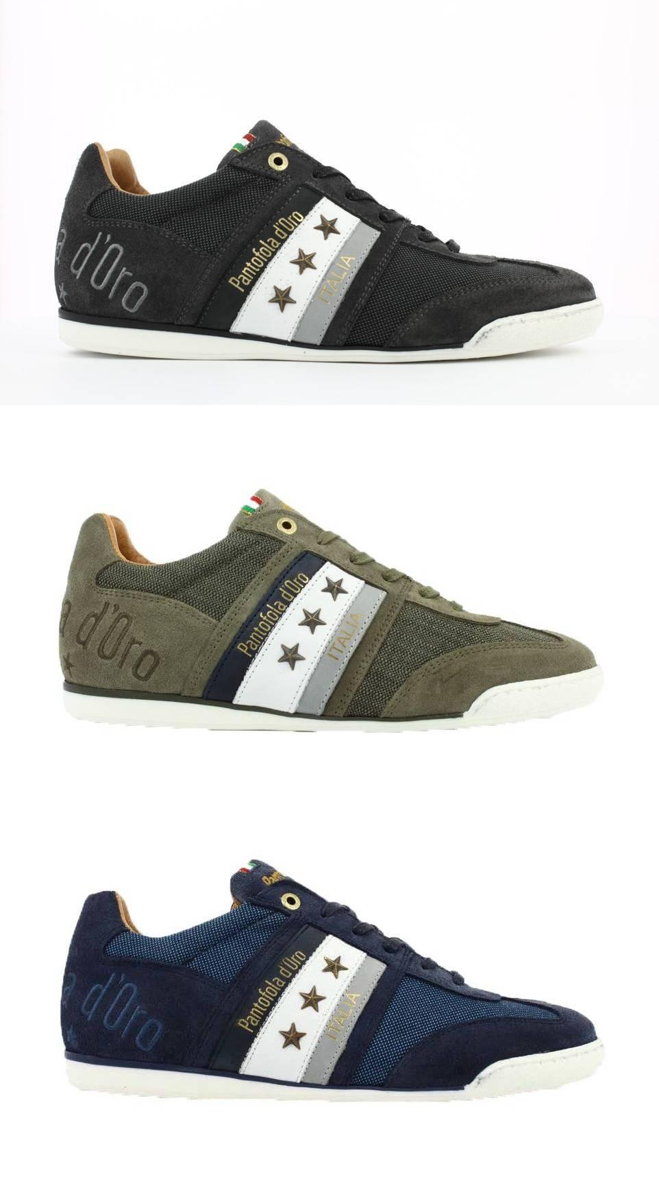 PANTOFOLA D'ORO Imola Canvas Uomo Low Low-Cut Sneaker Halbschuhe Leder Schuhe