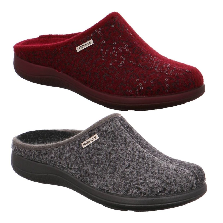 Rohde Bari Sandalen Hausschuhe Filz Damen Schuhe HW19