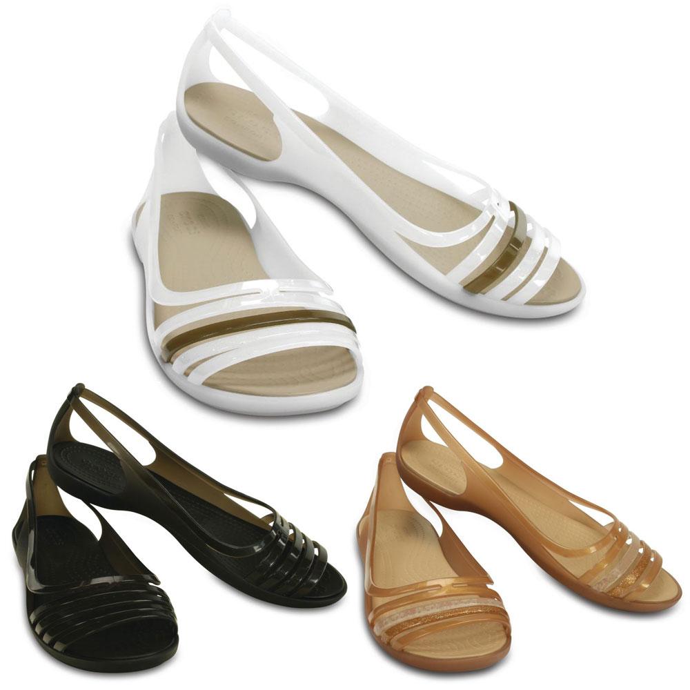 Crocs Isabella Huarache Flat Damen offene Sandale Ballerina Schuhe Fachhändler